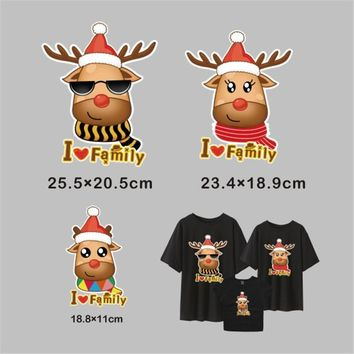 Christmas Deer Family Iron On Stickers Washable Patches For Jeans Transfer Thermal Hot Press Pyrography Paper Ironing Applique