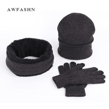 Hot Brand Winter Knit Beanies Hat Scarf Gloves 3 Pieces Set Men Women Plus Velvet Thick Warm Cap Scarves Touch Screen Mittens