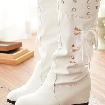New Women White Within The Higher Rhinestone Casual Mid-Calf Boots