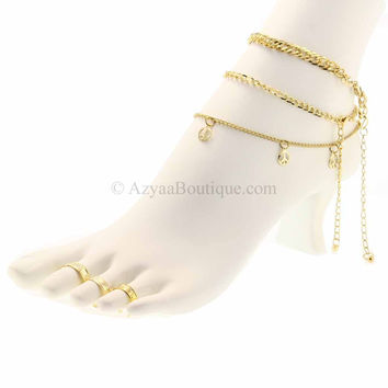 Gold Anklet and Toe Ring 3 Style Set