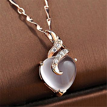 Heart Opal Crystal Necklaces & Pendants