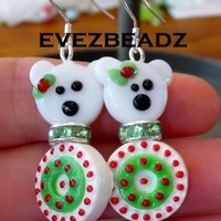 Festive Polar Bear 925 Sterling Silver Earrings