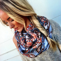 Inspiring Infinity Scarf Paisley Ethnic Circle Scarf Grey Floral Paisley Loop Scarf