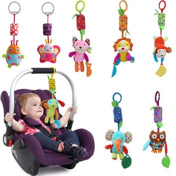 Top Sale 35cm 6 style Baby Rattles Soft Plush Toy Sound Teether Cute Monkey Dog Lion Owl Toy Car Ring Bell Crib Infant Baby Doll