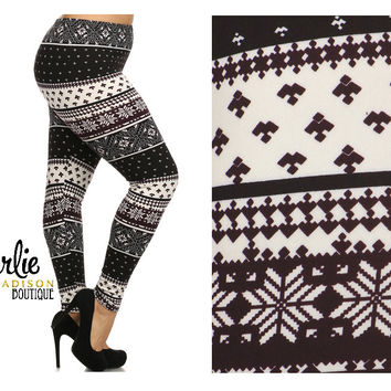 Fleece Holiday Leggings - Plus
