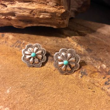 Concho Earrings with Turquoise Stone