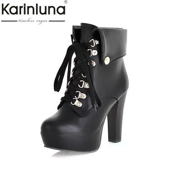 2017 Fashion Women High Heel Ankle Boots Vintage Lace Up Wrapped Platform Shoes Autumn Spring Motorcycle Boots Big Size 34-43