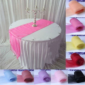 "Lot 10Pcs Sheer Organza Table Runner Wedding Party Banquet Decoration 12"" x 108"" = 1932968580"