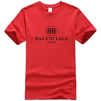 Balenciaga New fashion bust letter print couple top t-shirt Red