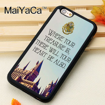 HARRY POTTER HOGWARTS Printed Soft Rubber Mobile Phone Cases Accessories For iPhone 6 6S Plus 7 7 Plus 5 5S 5C SE 4S Cover Shell