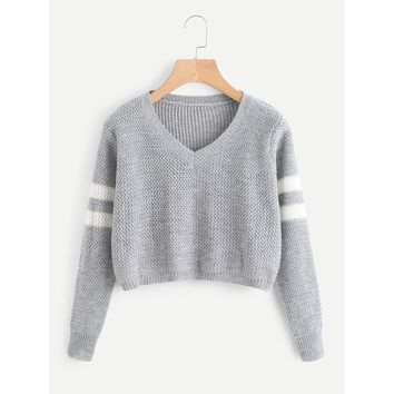 Varsity Striped Crop Jumper