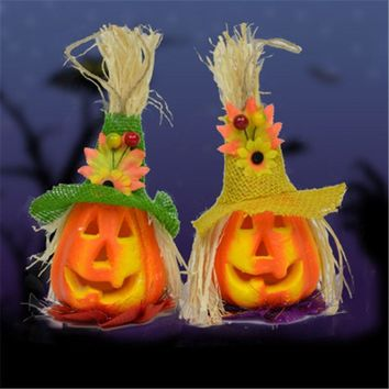 Scarecrow LED Pumpkin Light For Halloween Outdoor Decoration Horror Props Hanging Lantern Lamp Halloween Props Party Supplies