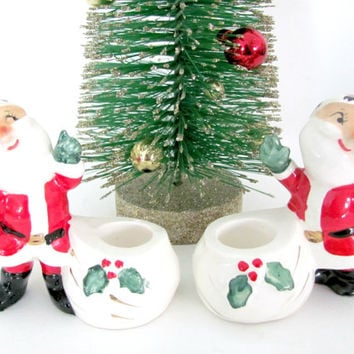 Vintage Christmas 1950's Holt Howard Santa Candle Holders, Ceramic Santa Figurine, Christmas Decor, Christmas Figurine, Mid Century