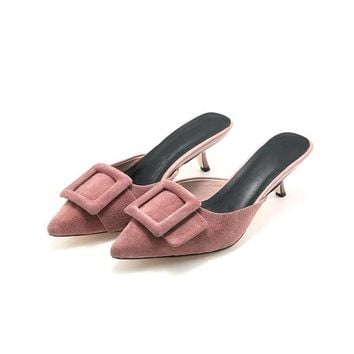 Buckle Front Suede Mules with Kitten Heel 2 Colors