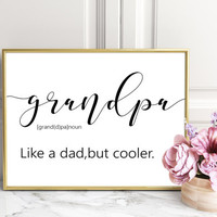 Christmas Gift for Grandpa Definition of Grandpa,Framed Burlap,New Grandpa,TYPOGRAPHY Print,Father's Day Gift,Grandpa Gift,Grandfather Gift
