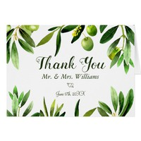 Elegant Olive Leaf Boho Garden Thank You Card