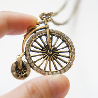 Vintage Style Bike Bicycle Necklace With Sparkle Rhinestone