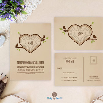 Heart shaped tree stump wedding invitation with RSVP | Forest woodsy woodland barn wedding | Kraft wedding invitation sets printed