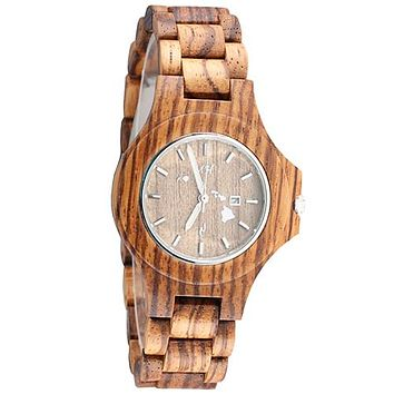 Zebra Wooden Watch Large Size Island Map Japan Movement  Small Size