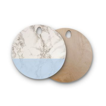 "Suzanne Carter ""Marble And Blue Block"" Modern Gray Round Wooden Cutting Board"