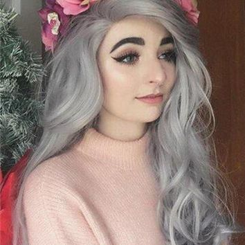 Star Grey Wavy Long Synthetic Lace Front Wig
