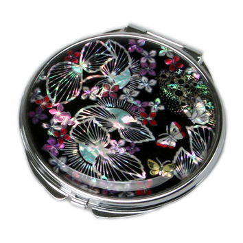 Mother of Pearl Fallen Leaf Magnifying Black Round Metal Compact Cosmetic Makeup Folding Handbag Purse Beauty Pocket Hand Mirror