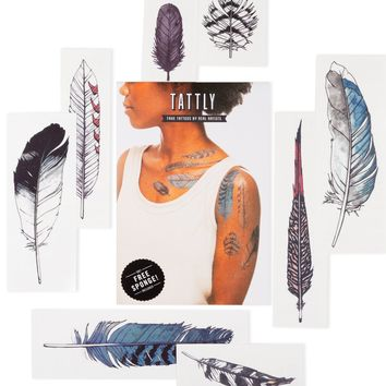 Tattly Temporary Tattoo Set |Watercolor Feather