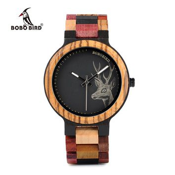 BOBO BIRD P14-2 Deer Collection Wood Watches Date and Week Display Quartz Men Watch with Unique Mixed Color Wooden Band