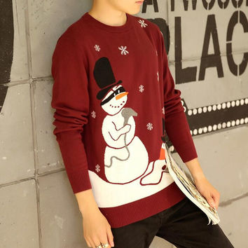 Men Ugly Christmas Sweater Winter Fashion Snowman Knitting Pattern O-Neck Pullovers Knitwear