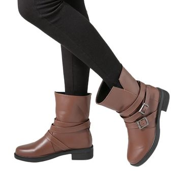 Women Flat Short Booties Buckle Strap Leather Martin Ankle Boot