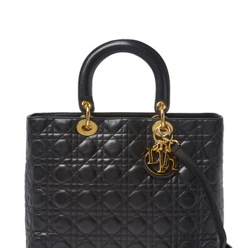 Christian Dior Women's Black Cannage Quilted Lambskin Lady Dior Large With Strap