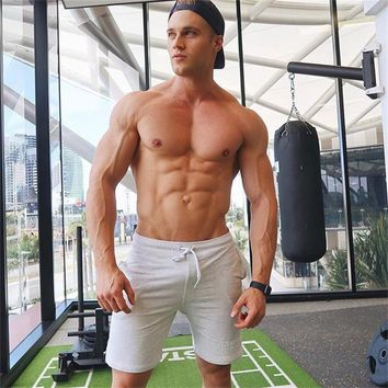 2018Mens Printed Cotton Shorts Calf-Length Gyms Fitness Fashion Workout Casual Brand Short Pants Men Red Black White