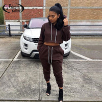 2016 Autumn Good Knitted Cotton 2 pieces set jumpsuit women Full sleeve Black Casual Loose Hoodies tracksuit Female Long outfits
