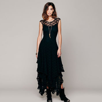 Women's Boho People Hippie Style Lrregular Lace Dress Sexy Long Dress Double Layered Ruffled Trimming Low V-Back