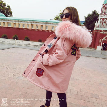New Coats & Jackets 2016 Parka Hooded Winter Jacket Women Fur Collar Winter Coat Women Zipper Women's Jacket Faux Fur Coat