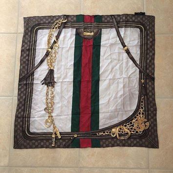 LMFMS6 Authentic gucci silk scarf