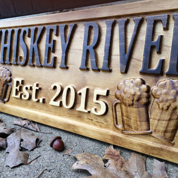 personalized bar sign carved wood sign custom wood sign personal home decor