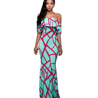 Light Green Printed Off Shoulder Sheath Maxi Dress