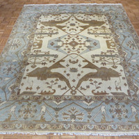 8 x 10 Hand Knotted Ivory/Sky Blue Oushak Oriental Rug