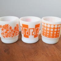 Fire King Orange Mugs, Set of 3, Anchor Hocking Vintage Milk Glass cup; D Handle and Stackable
