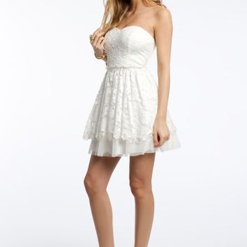 Strapless Lace Dress with Peek-A-Boo Bottom