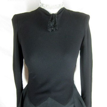 Vintage 40s KAY CARTER Black Crepe Cocktail Dress W26