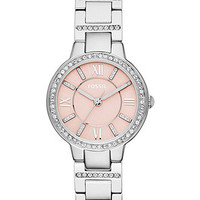 Fossil Women's Virginia Crystal Accent Stainless Steel Bracelet Watch 34mm ES3504