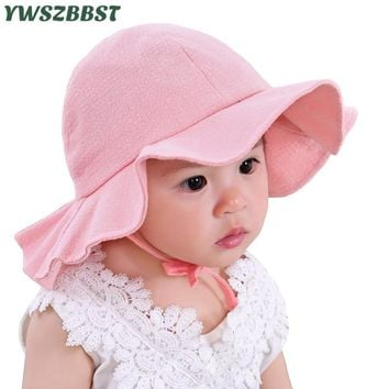 bfef6a47550 Solid Color New Summer Baby Girl Hat Children Sun Hat Cotton Baby Bucket  Caps Autumn Child