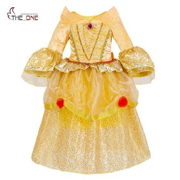 MUABABY Girls Belle Cosplay Costume Children 5 Layers Princess Dresses Kids Flare Sleeve Lace Layered Tutu Dress Girl Ballgown