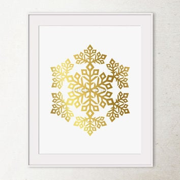Gold foil print Snowflake art print, Gold Snowflake print, Gold Christmas printable wall art, Christmas wall art, Faux gold foil art print