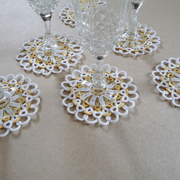 40 Wedding Lace Coasters  - wedding decor - home decor - tatting lace