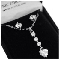 "Eye Catching ""Lovely Valentine""Dropping Tier Cubic Zirconia Necklace/Earring Set"