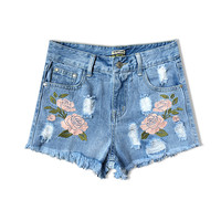 2016 fashion high waist shorts jeans women Europe style tassel 3D flower embroidered short feminino casual female denim shorts