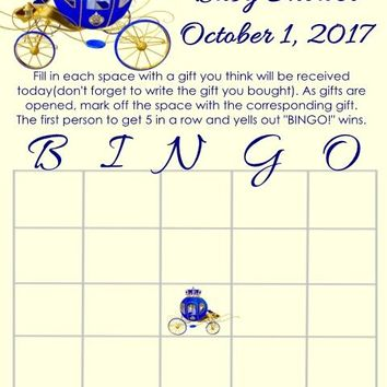 10 Prince Baby Shower Bingo Cards Carriage